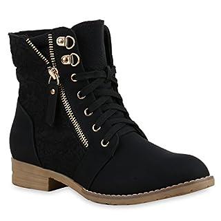Stylische Damen Stiefeletten Worker Boots Knöchelhohe Stiefel Gesteppt Damen Leder-Optik Zipper Ketten Schuhe 134629 Schwarz 39 Flandell