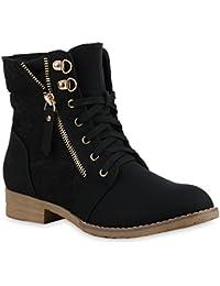 Stylische Damen Stiefeletten | Worker Boots Spitze | Knöchelhohe Stiefel Gesteppt | Damenschuhe Leder-Optik | Zipper Ketten Blockabsatz | Flandell®