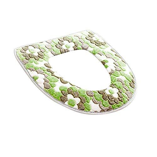 Livecity fiore morbido caldo per copriwater sedile coperchio pad tappetino cuscino per sedia da bagno, pile corallo, green, 43cm x 36cm