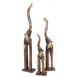 Elefanten aus Holz 3 er SET 100 cm 80 cm 60 cm Holz Elefant Afrika Tierfigur Dekoartikel Skulptur