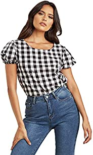 Gingham Checked Puff Sleeves Top For Women's Blue Saint by S