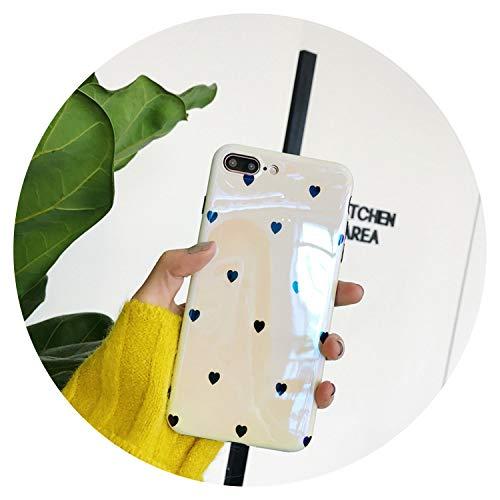 Simple Little Love per iPhone per iPhone x mobile phone Shell per IPHONE8/7PLUS/6s Blue Mirror manicotto protettivo donne modelli iPhone 6 Infradito colorati estivi, con finte perline