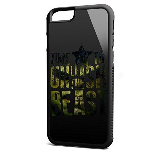 Smartcover Case Time To Unleash the Beast z.B. für Iphone 5 / 5S, Iphone 6 / 6S, Samsung S6 und S6 EDGE mit griffigem Gummirand und coolem Print, Smartphone Hülle:Samsung S6 EDGE weiss Iphone 6 / 6S schwarz
