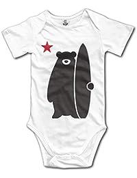 Bebé recién Nacido niños niñas bebé Body Manga Larga, Infant Cali nia Surf Bear Funny Lovely Surfers Cute Baby Onesie