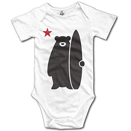 Monicago Neugeborenes Baby-Jungen-Mädchen-Bodysuit-Lange Hülse, Infant Cali nia Surf Bear Funny Lovely Surfers Cute Baby Onesie Carters 5 Pack Onesies