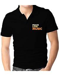 Teeburon PEACE LOVE Music Polo Camisa