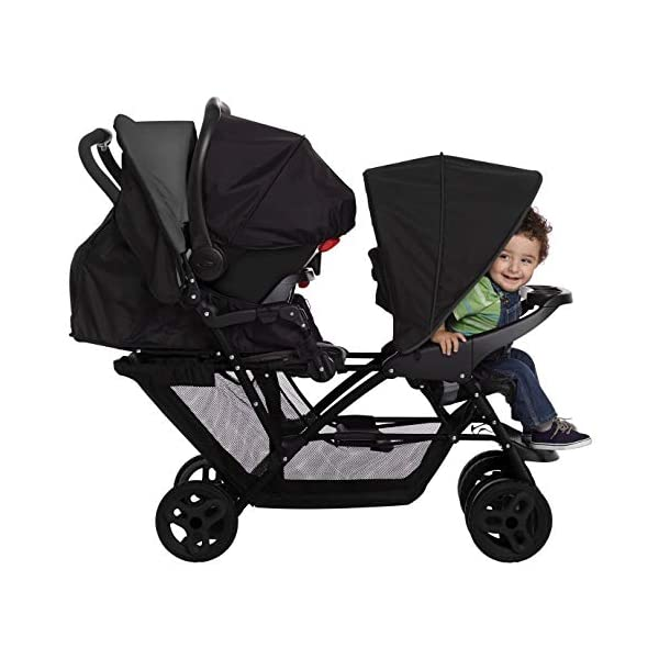 Graco Stadium Duo Click Connect Tandem Pushchair, Black/Grey Graco Compatible with all graco click connect car seats, which can be easily added to the tandem chassis with just one click. Folded-Length:66cm, Height: 109cm Convenient one-hand standing fold, featuring an automatic storage latch that folds effortlessly. Maximum weight capacity is 15 Kg. Stadium-style seating positions with slightly higher rear seat, so that both children can see the world around them 8