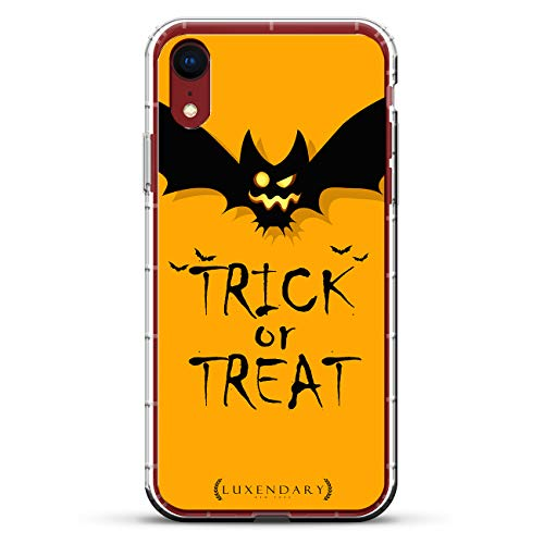 Trick OR Treat Spooky BAT ORANGE Halloween | Luxendary Air Series Clear Silicone Case with 3D Printed Design and Air-Pocket Cushion Bumper for iPhone XR (New 2018/2019 Model with 6.1