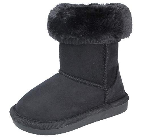 Yinka Shoes Girls Kids Infant Suedette Faux Fur Sheepskin Trim Lined Tall Mid Calf Warm Winter Ankle Boots