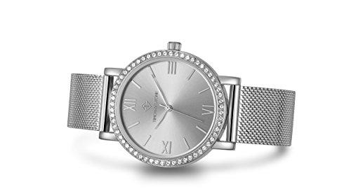 Timothy Stone I-013-ALMSL Indio Damen-Armbanduhr, Silber - Swarovski Kristall verschönert Lünette Quarzwerk Netzarmband - Damenuhr
