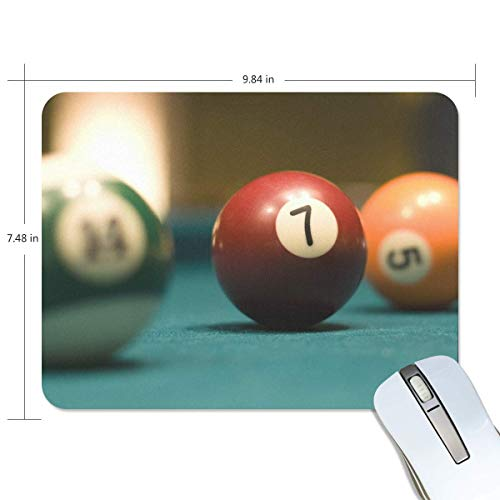 3 Billard-Kugeln auf Billardtisch Rechteck Mauspad Griffige Gummi Gaming Mouse Pad 7.9x9.5 Zoll