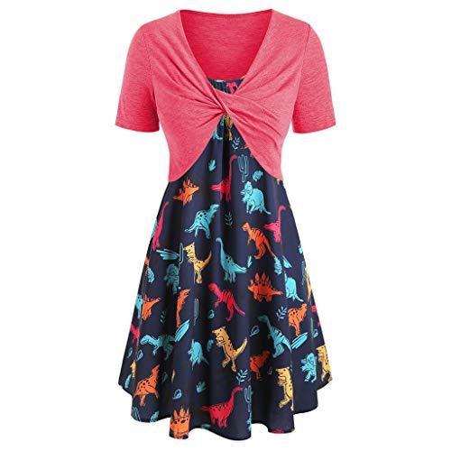 Abiti da donna vendita estate casual manica corta top boho stampa swing mini abito 2 pezzi outfit(rosa caldo,large)