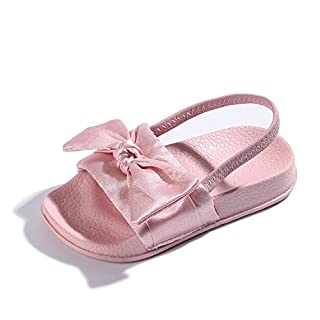 Girls Sandals Toddler,Bow Sliders Silky Slippers Flat Soft with Sling Back for Kids/Infant Indoor/Outdoor Size Kids 2.5-11UK Pink
