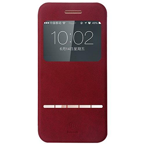 IVSO Terse Leder Tasche / Case / Hülle / Schutzhülle für Apple IPhone 6 Plus Smartphone (5.5 Zoll) - mit Standfunktion (für Apple Iphone 6 Plus Smartphone, Rot)