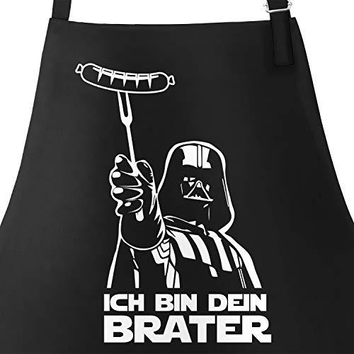 hürze für Männer mit Spruch Ich Bin Dein Brater Baumwoll-Schürze Kochschürze Grillen Barbecue BBQ Fleisch Sommer schwarz Unisize ()