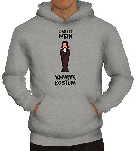 Karneval Kapuzenpullover mit Das ist mein Vampir Kostüm 3 Motiv, Größe: XL,Graumeliert (Coole Vampir Männer Kostüme)