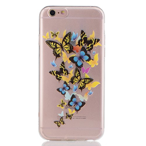 Pour Apple iPhone 6/6S(4.7 Zoll) Case Cover, Ecoway TPU Clear Soft Silicone motifs peints Housse en silicone Housse de protection Housse pour téléphone portable pour Apple iPhone 6/6S(4.7 Zoll) - Fleu papillon