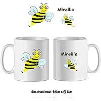 Texti-cadeaux-Mug Abeille-personnalisé avec un prénom exemple Mireille