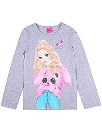 Top Model, supermodelo niñas Camiseta, T-Shirt, Manga Larga, Gris