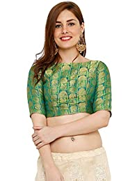 5519f1dae5138d S Salwar Studio Women s Green Banglori Brocade Silk Readymade Padded Saree  Blouse(SSB2115-Green Size