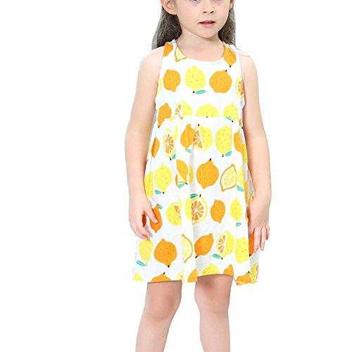 ESHOO Kleine Mädchen Zitrone Gedruckt Sommerkleid Minikleid für den Sommer (Kleid Kittel Taufe Baumwolle)