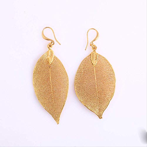SFDG Ohrringe European And American Simple Fashion Earrings Natural Leaf Jewelry Earrings Champagne Gold American Champagne