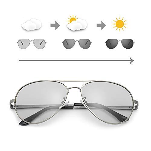 OSVAW Sonnenbrille Herren Photochromatisch Polarisiert Selbsttönend Metallrahmen für Autofahren Laufen Radfahren Angeln Golf 100% UVA UVB Schutz Hoch (Waffenrahmen/Graue photochrome Linse)