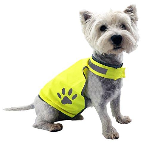 Hundeweste - Warnweste zum Schutz für kleine bis mittlere Hunde - Signalweste per Klettverschluss größenverstellbar - Reflektorweste neon-gelb reflektierend