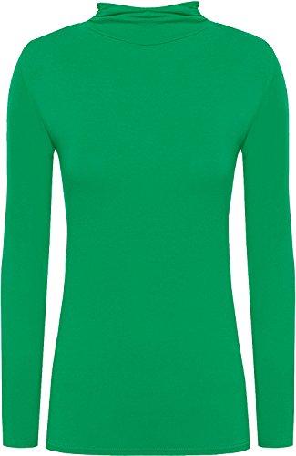 WearAll Damen Rollkragenpullover, langärmelig, Stretch, einfarbig Gr. XL 42-44, jadegrün Nec 42