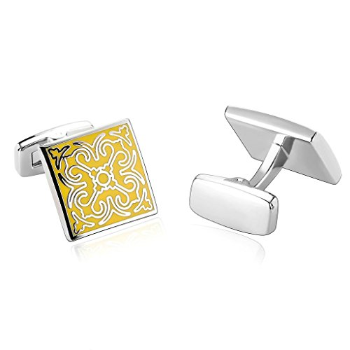 amdxd-jewelry-stainless-steel-men-cufflinks-yellow-high-quality-special-flower-pattern-cuff-links