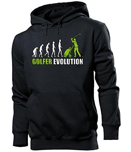 love-all-my-shirts Golfer Evolution 2063 Sport Männer Herren Hoodie Pulli Kapuzen Pullover Kapuzenpullover Sportbekleidung Sport Schwarz Aufdruck Grün XXL