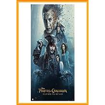 Pirati dei Caraibi Poster Stampa e Cornice (Plastica) - Dead Men Tell No Tales, Cast (91 x 61cm)