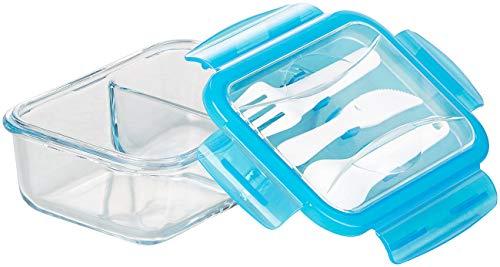 Rosenstein & Söhne Gefrierdosen: Glas-Frischhaltedose, 2 Kammern, Besteck, Klick-Deckel, -20 bis 520 °C (Gefrierdosen Glas)