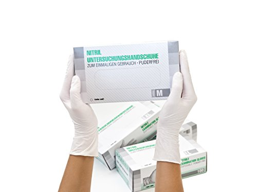 Nitrilhandschuhe 1000 Stück Karton (M, Weiß) Einweghandschuhe, Einmalhandschuhe, Untersuchungshandschuhe, Nitril Handschuhe, puderfrei, ohne Latex, unsteril, latexfrei, disposible gloves, white, Mediu