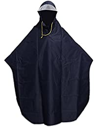 VORCOOL Men Women Cycling Bicycle Bike Rain Cape Poncho Hooded Windproof Rain Coat Mobility Scooter Cover Outdoor Camping Tent Mat with Transparent Cap (Navy Blue)