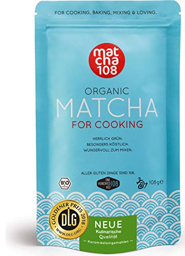 Matcha Pulver Tee 108 – Bio Premium Qualität (für kräftiges Tee-Aroma zum Mixen) – Ideal für Smoothies, Lattes, zum Kochen & Backen – Zertifiziertes Grüntee Pulver [108g Culinary Grade Green Tea]
