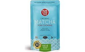 Matcha Pulver Tee 108 – Bio Premium Qualität (für kräftiges Tee-Aroma zum Mixen) - Ideal für Smoothies, Lattes, zum Kochen & Backen – Zertifiziertes Grüntee Pulver [108g Culinary Grade Green Tea]