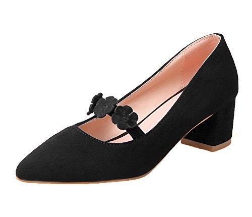 VogueZone009 Femme Dépolissement Pointu Tire Couleurs Mélangées Chaussures Légeres Noir