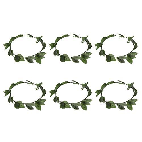 FLAMEER 6pcs / Pack Stilvolle Frauen Griechische Römische Göttin Toga Kopf Band, Grüne Blätter Lorbeer Kranz, Party Headwear (Römische Toga Frauen Für)