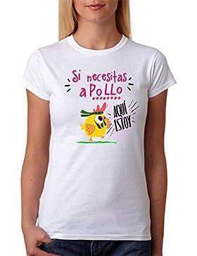 MardeTé Camiseta Divertida. Si Necesitas a Pollo aquí Estoy. Divertida Camiseta para Amigas, Fiestas, Feria, Boda...