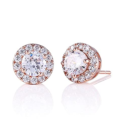 GULICX Jewellery Classic Round White Clear Zircon Rose Gold Plated Huggie Stud Earrings for Womens