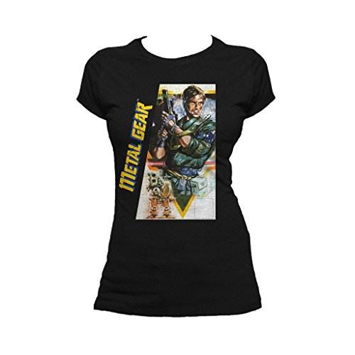 Metal Gear Box Art US Official Women's T-Shirt (Black) (Medium)