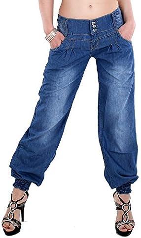 Damen Sexy Haremshose Pumphose Pluder Boyfriend Sarouel-Aladin Harem Hose Jeans 880 (S - 36)