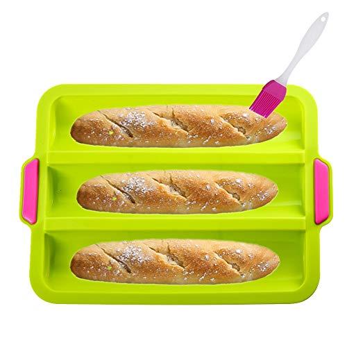 KeepingcooX® Baguette-Backblech(für 3 Baguettes), 34x24x3 cm - Baguette-Blech, Antihaft Silikon Baguetteform   Brot Crisping Tray, Laib Backform, perfekt backt French-Bread, Breadstick und Brötchen