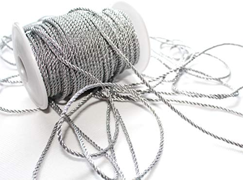 CaPiSo 50m Kordel 3 mm breit Schnur Kordelband gedrehtes Band (Silber)