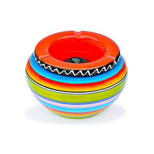posacenere-in-ceramica-4-pezzi-multicolore-a-righe-con-coperchio-rosso-nuovo