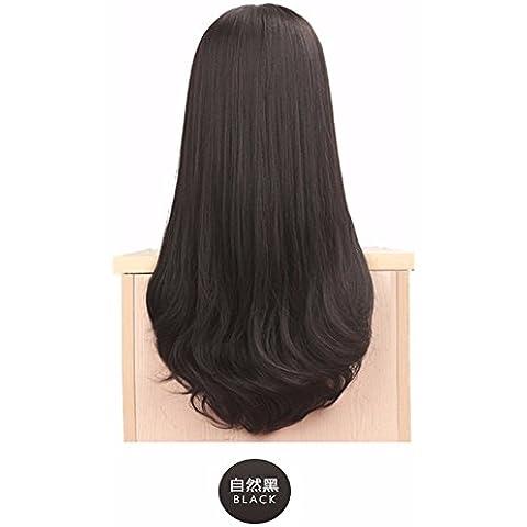 XNWP-Pelucas hembra pelo rizado largo bangs olas grandes en aire delgado Matt cabello, verdadera naturaleza esponjosas,negro