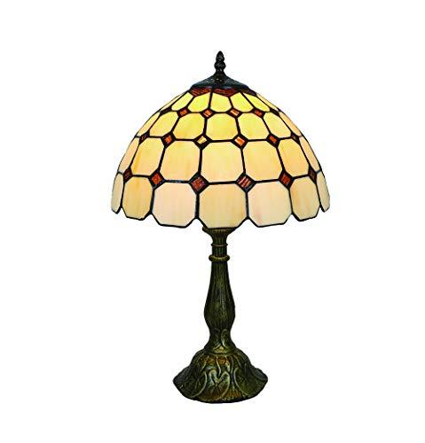 Vintage Tiffany Tischlampen Bernstein 50 Hoch, Tiffany Tischlampe Antik Original, Glasmalerei Lampen Einfachen Stil Schlafzimmer Wohnzimmer von FBOSS -