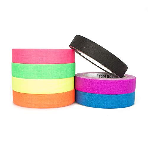 Echo Matt fluoreszierendes Gaffer Gewebeband XL 25 m Rolle - ideal für Bühnenarbeit & Hula Hoop Taping, mehrere UV-Farben erhältlich 25m (82') UV Orange
