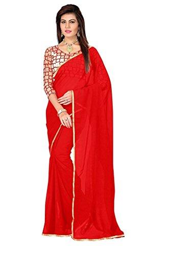 Fragrance Trendz Chiffon Saree (Ganga1 Red_Red)